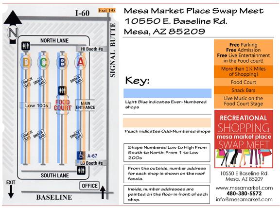 Map Layout of Mesa Market Place - Mesa Market Place Swap Meet